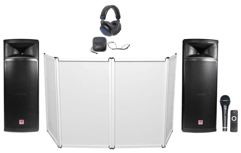 """DJ Package w/ Dual 15"""" 2000w Powered Speakers w/Bluetooth+Mic+Headphones+Facade"""