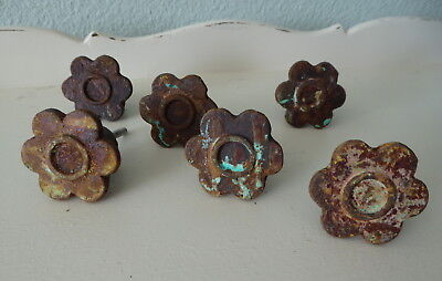 Chippy Rusty Aqua Pink FLOWER KNOBS Rustic BoHo SteamPunk Iron Metal Drawer (Pink Steampunk)