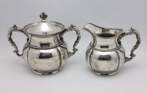 Vintage Meriden Quadruple Silverplate Covered Sugar and Creamer Set