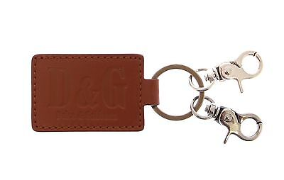 DOLCE & GABBANA D&G Leather Metal Unisex Ring Hook Logo Keychain Keyring NEW