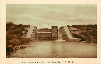 c1920 Sepia Postcard; Outlet of the Reservoir, Baldwin, Long Island NY, Unposted