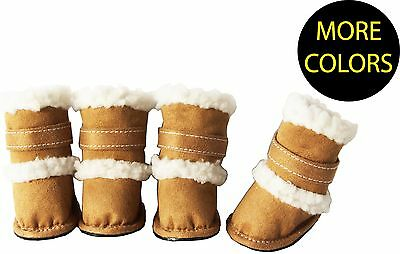 (DUGGZ Shearling Designer Insulated Pet Dog Shoes Boots Booties - Set of 4)