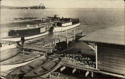 Walker MN Leach Lake Boat Landing 1924 Used Real Photo Postcard