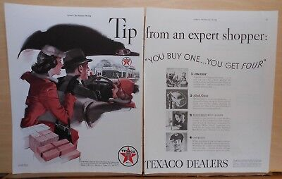 """1939 two page magazine ad for Texaco - """"Expert Shopper"""" points out Texaco"""