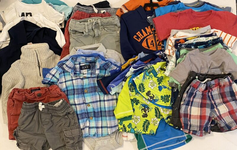 12 - 18 Months M Baby Boy Clothes 50 Piece Lot Clothing Infant Tops Pants Shorts