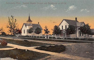 Kerkhoven Mn Swedish Baptist Church Beyond Fence Residence 1910 Postcard