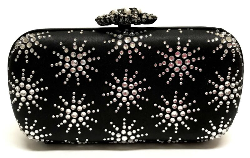 Satin Evening Bag Clutch Hard Shell Stones Chain Strap By JNB
