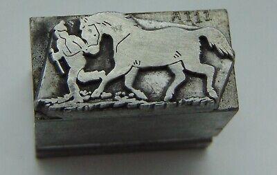 Printing Letterpress Printers Block Man Walking Horse All Metal