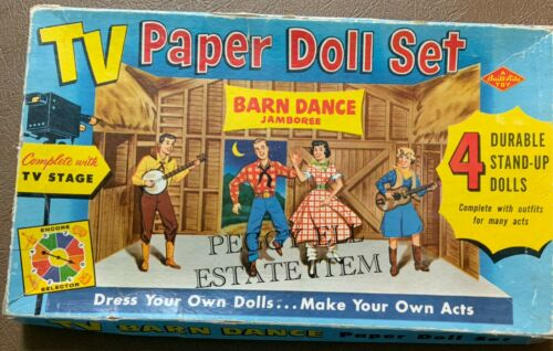 "BUILT-RITE WARREN TOYS ""TV PAPER DOLL SET"" BARN DANCE JAMBOREE w/TV STAGE 4 DOLL"