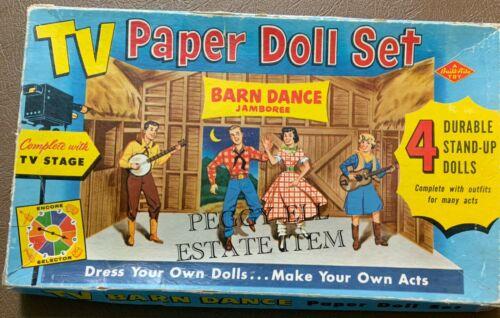"BUILT-RITE WARREN TOYS ""TV PAPER DOLL SET"" BARN DANCE JAMBOREE w/TV STAGE 4 DOLL"