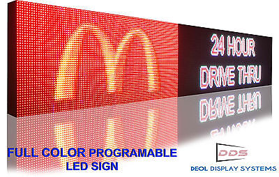 Open Led Sign Programmable Electronic Board Full Color Outdoor Display 12 X 50
