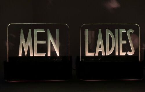 PAIR ART DECO MEN - LADIES ROOM LIGHT UP SIGNS ETCHED GLASS & METAL Antique