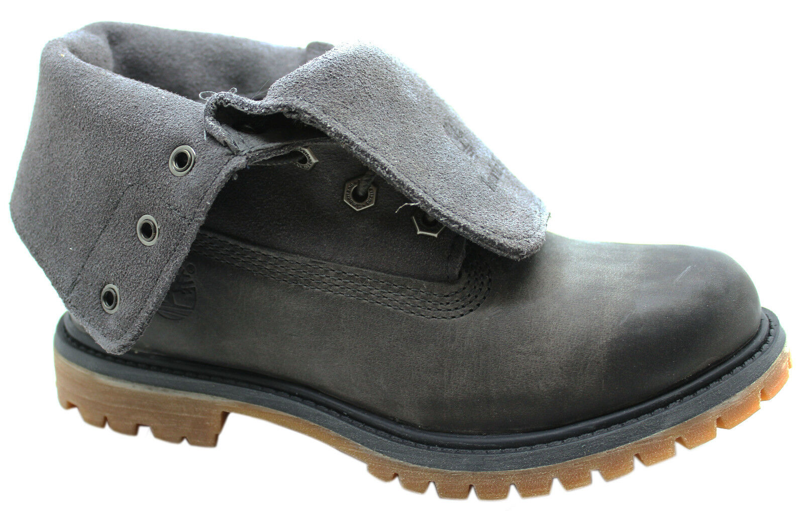 timberland womens authentics suede leather roll top grey