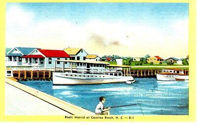 CAROLINA BEACH NC Boats Moored in Harbor Yacht Basin Fishing Boat North Vtg E097