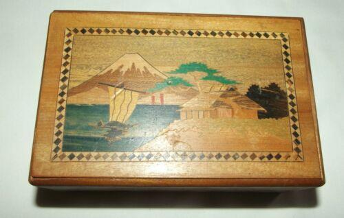 Wood Parquet Puzzle Box Japan Mt Fugi Boat House Bird Flower Secret Compartment