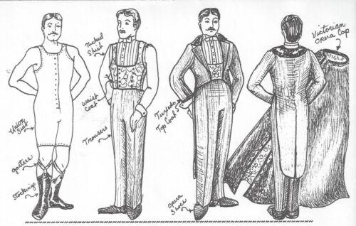 "24""ANTIQUE MAN DOLL@1895 TUXEDO/OPERA SUIT/CAPE SHIRT SHOES UNDERWEAR PATTERN"