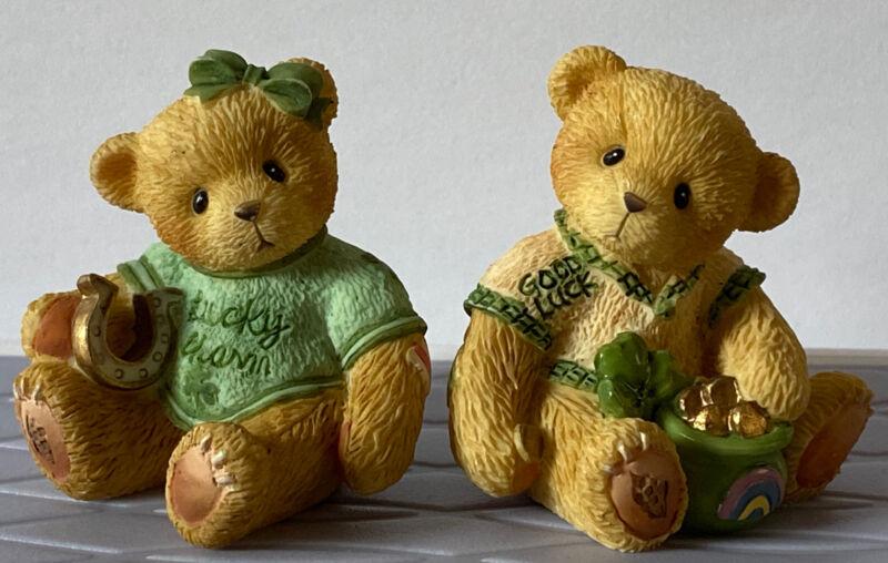 Miniature Cherished Teddies LUCKY CHARM & GOOD LUCK Irish Boy Girl Figurines