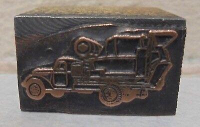 Vintage Cement Truck Metal Wood Letterpress Printing Block Type Nice