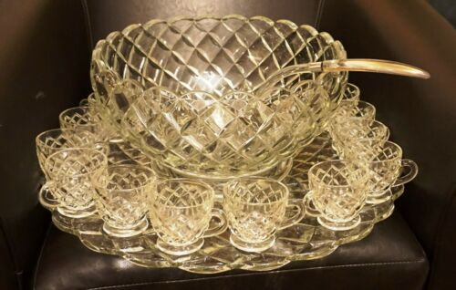 Anchor Hocking Depression Glass Waterford Waffle Punch Bowl w Underplate 12 Cups