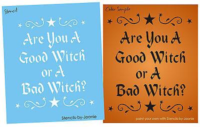 e You Good Bad Witch Magic Stars Scroll Swirl Art Prim Signs (Halloween Bad Sign)