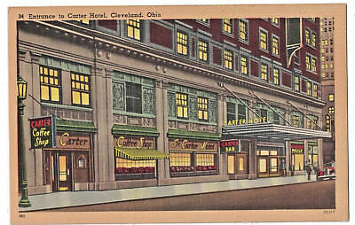 Carter Hotel (Postcard Entrance to Carter Hotel East Ninth Street Bar Coffee Cleveland Ohio )