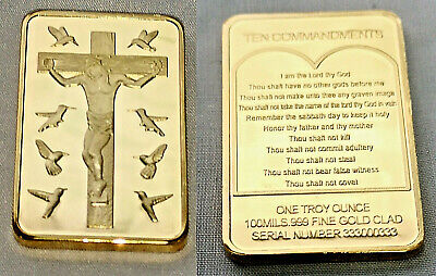 Jesus Christ 10 Commandments Gold Bar Crucifix Easter Birds Prayer Good Friday