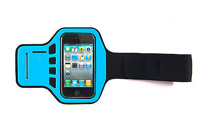 Blue Armband Case Cover iPhone 4, 4G, 4s Supreme Quality Jogging Running Gym ()