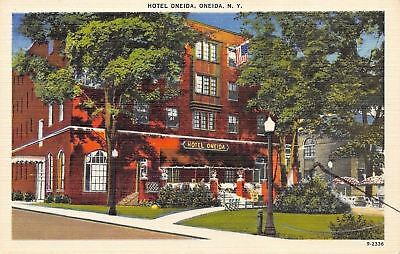 Oneida New York~Hotel Oneida~Patio Umbrellas~$1.65 Single~1940s Linen Postcard Hotel Oneida