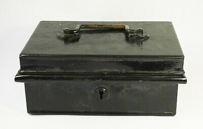 Vintage black cash box chest brass handle 4 lever storage tin
