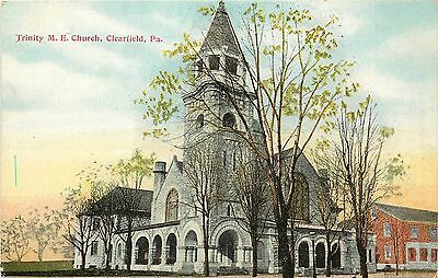 1907 1915 Vintage Postcard  Trinity M E  Church  Clearfield Pa  Unposted