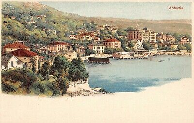 ABBAZIA, OPATIJA, CROATIA ~ TOWN & HARBOR OVERVIEW ~ c 1902