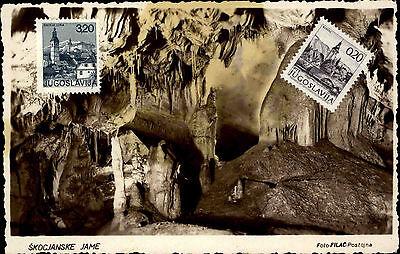 Jugoslawien Skocjanske Jame Vintage Postcard Stamp Briefmarke Jugoslavija