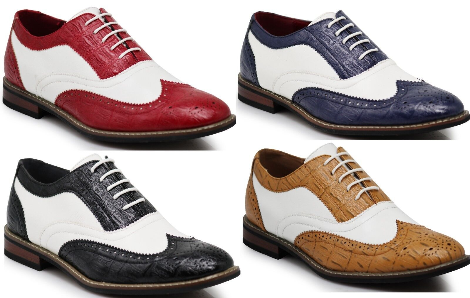 Parrazo Men Dress Shoes Wingtip Oxford 2-tone Leather Lined Lace Up Conrad-3