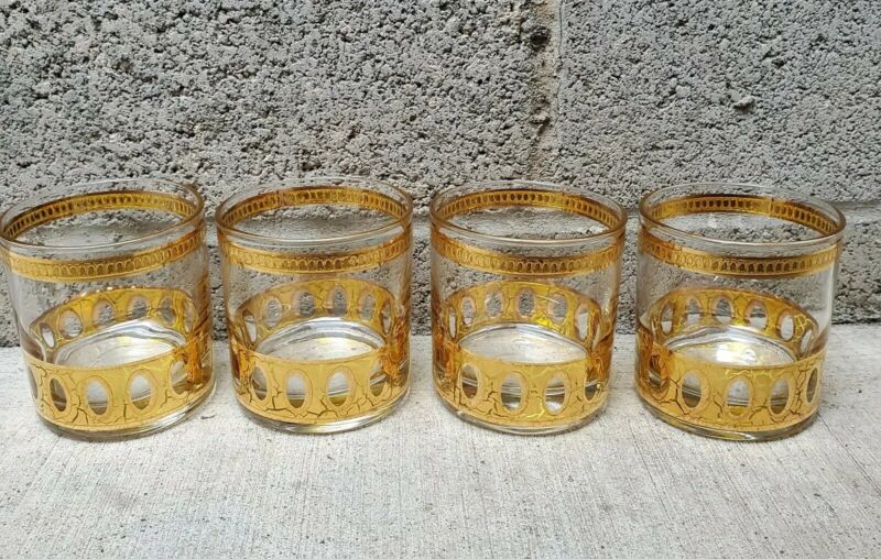 Vintage Mid Century Modern Culver PISA Gold Glasses Shot Glass Barware Crackle