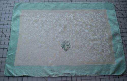 8577 12 outstanding, Antique linen napkins, yellow & green , MTR monogram