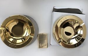 555 gold colour ashtray x2 and lighter NEW