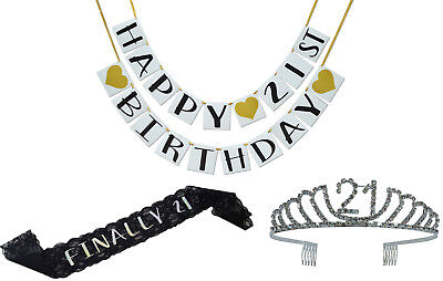 21st Birthday Party Supplies and Decorations Pack - Sash, Tiara, and Banner - 21st Birthday Sashes And Tiaras