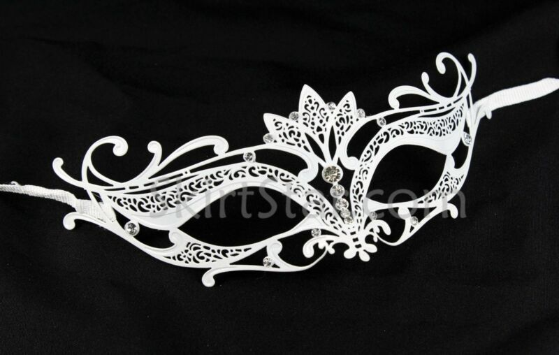 Laser Cut Venetian Mask Masquerade Costume Ball Crystal White Bride Wedding Prom