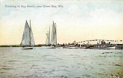 Bay Beach Green Bay Wisconsion yachting Boating sailboats WI Postcard