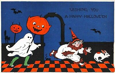 c.1920 Boy in Ghost Costume Chasing Clown Girl Happy Halloween post card Gibson