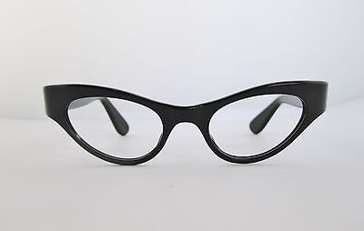 TRUE VINTAGE SHINY BLACK CATEYE EYEGLASS FRAMES w/ INLAID TEMPLE NOS DEADSTOCK