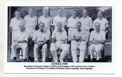 Postcard J F Sporting Collectibles - Cricket Team  Sussex  1948