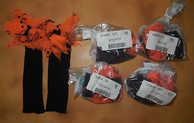 New Lot of 5 Pair Small Dance Costume Mitts Black Orange Halloween Theme