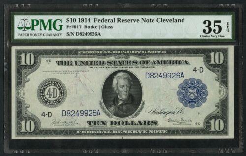 Fr917 $10 1914 Cleveland Frn Pmg 35 Epq Choice Vf Burke / Glass Scarce Bu2761