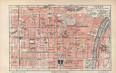 TURIN historical city map  Stadtplan von 1897