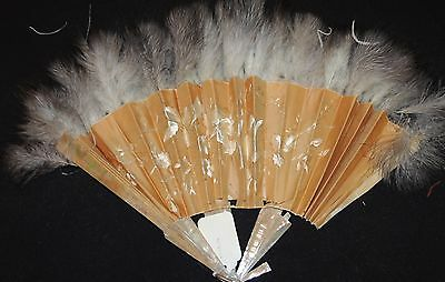 Victorian Hand Embroidered Chinese Silk Fan   Swan Down Feathers Mother of Pear