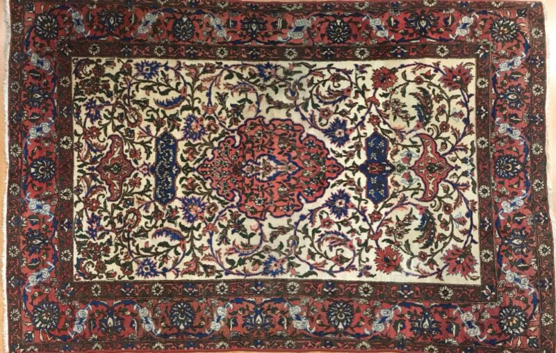 Marvelous Mobareke - 1910s Antique Oriental Rug - Floral Carpet - 4.8 X 7 Ft