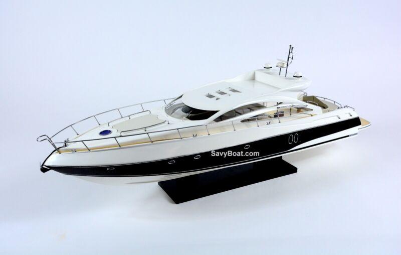 "Sunseeker Predator 62 Yacht Handmade Wooden Boat Model RC Convertible 34"""