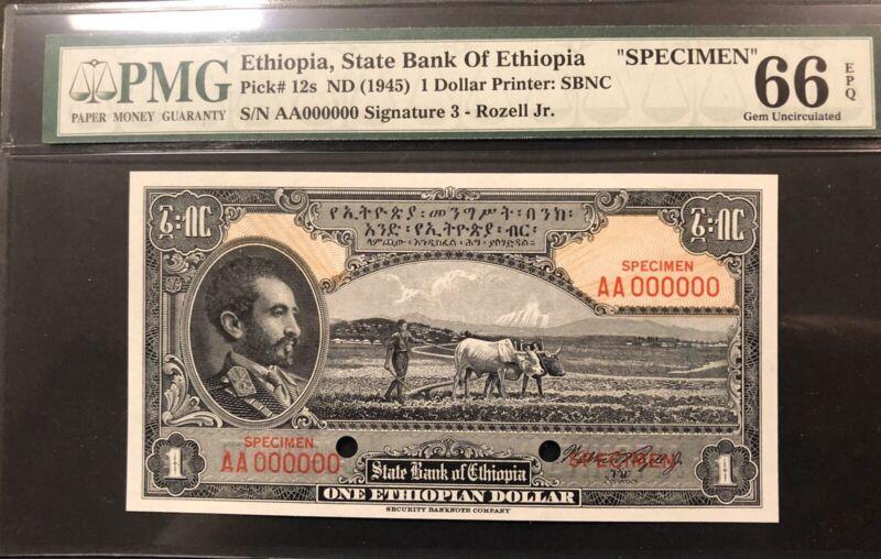 Ethiopia Banknote Specimen  P12s  EPQ Grade 66