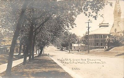Dundee Illinois~Main Street @ 3rd~City Hall~Store~Church Girls~1911 Childs RPPC - Kid City Stores